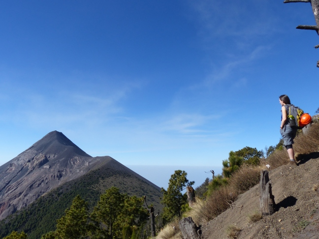 View of Volcán de Fuego from the terraces of Volcán Acatenango, Feb 2017